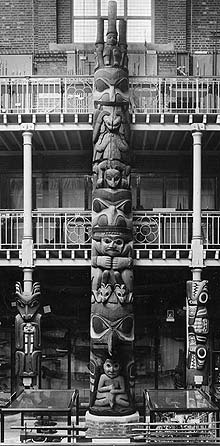Totem-pole in situ in the Pitt Rivers Museum